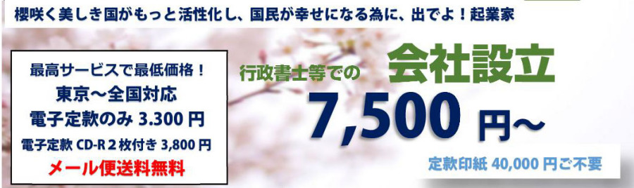 合同会社設立定款作成から電子定款代行3,300円送料無料